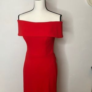 Betsy & Adam Red Strapless Gown - Sz 6